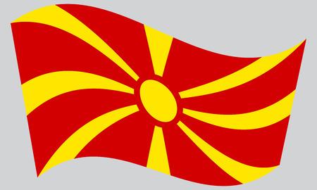 Mazedonische nationale offizielle Flagge. Patriotisches Symbol, Banner, Element, Hintergrund. Korrekte Farben. Flagge von Mazedonien winken auf grauem Hintergrund, Vektor