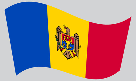 moldovan: Moldovan national official flag. Patriotic symbol, banner, element, background. Correct colors. Flag of Moldova waving on gray background, vector Illustration