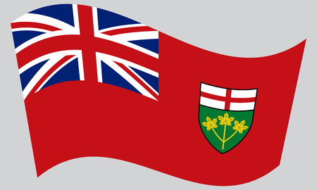Ontarian provincial flag, patriotic element and official symbol. Canada banner and background. Correct colors. Flag of the Canadian province of Ontario waving on gray background, vector Ilustração