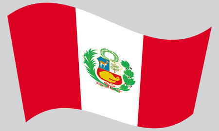 peruvian: Peruvian national official flag. Patriotic symbol, banner, element, background. Correct colors. Flag of Peru waving on gray background, vector Illustration