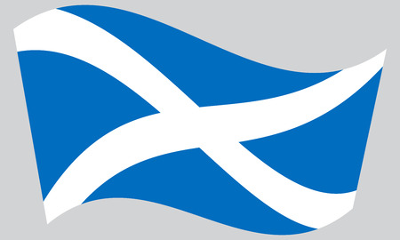 Scottish national official flag. Patriotic symbol, banner, element, background. Correct colors. Flag of Scotland waving on gray background, vector Vectores