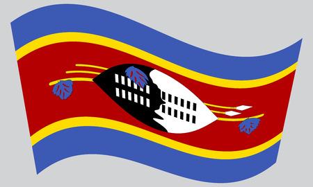 Swazi national official flag. Patriotic symbol, banner, element, background. Correct colors. Flag of Swaziland waving on gray background, vector Illustration