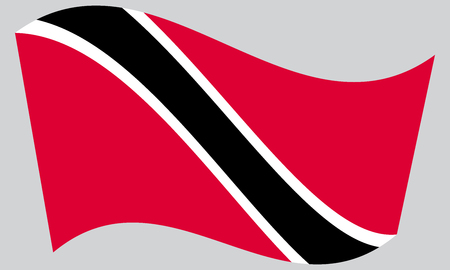 trinidadian: Trinidadian and Tobagonian national official flag. Patriotic symbol, banner, element, background. Correct colors. Flag of Trinidad and Tobago waving on gray background, vector
