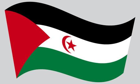 sahrawi arab democratic republic: Sahrawi national official flag. Western Sahara patriotic symbol. SADR banner, element, background. Correct colors. Flag of Sahrawi Arab Democratic Republic waving on gray background, vector Illustration