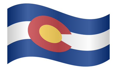 colorado flag: Colorado official flag, symbol. American patriotic element. USA banner. United States of America background. Flag of the US state of Colorado waving on white background, vector