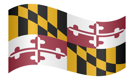 flag banner: Maryland official flag, symbol. American patriotic element. USA banner. United States of America background. Flag of the US state of Maryland waving on white background, vector