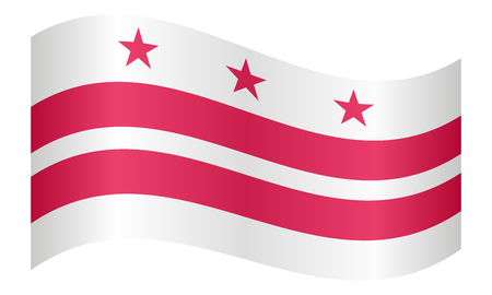 district of columbia: Washington, D.C. official flag, symbol. American patriotic element. USA banner. United States of America background. Flag of the District of Columbia waving on white background, vector