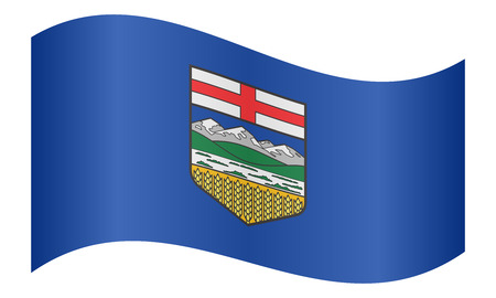 provincial: Albertan provincial official flag, symbol. Canada banner and background. Canadian AB patriotic element. Flag of the Canadian province of Alberta waving on white background, vector illustration