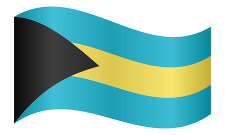 bahamian: Bahamian national official flag. Patriotic symbol, banner, element, background. Correct colors. Flag of Bahamas waving on white background, vector illustration