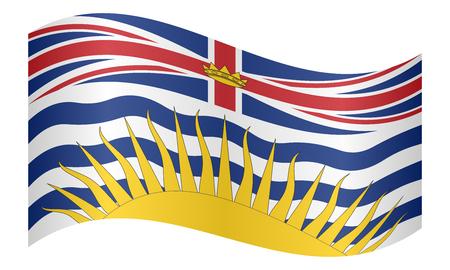 Élément patriotique et symbole officiel de la province de la Colombie-Britannique. Bannière et arrière-plan du Canada. Drapeau de la province canadienne de Colombie-Britannique en agitant sur fond blanc, illustration vectorielle