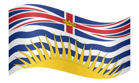 Canadian provincial BC patriotic element and official symbol. Canada banner and background. Flag of the Canadian province of British Columbia waving on white background, vector illustration