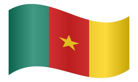 Cameroonian national official flag. African patriotic symbol, banner, element, background. Correct colors. Flag of Cameroon waving on white background, vector illustration Illustration