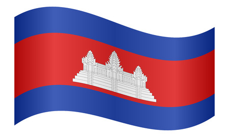 Cambodian national official flag. Patriotic symbol, banner, element, background. Correct colors. Flag of Cambodia waving on white background, vector illustration