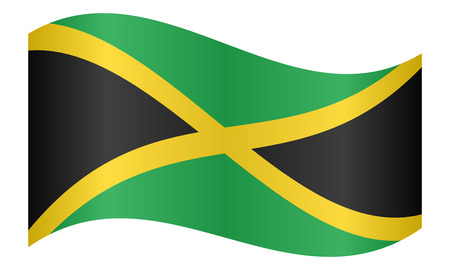 Jamaican national official flag. Patriotic symbol, banner, element, background. Correct colors. Flag of Jamaica waving on white background, vector illustration
