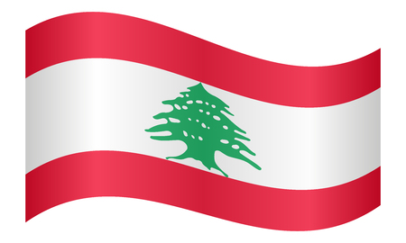 lebanese: Lebanese national official flag. Patriotic symbol, banner, element, background. Correct colors. Flag of Lebanon waving on white background, vector illustration