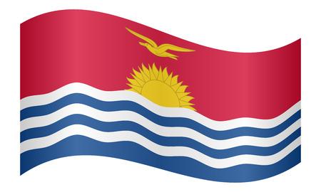 carribean: Kiribati national official flag. Patriotic symbol, banner, element, background. Correct colors. Flag of Kiribati waving on white background, vector illustration