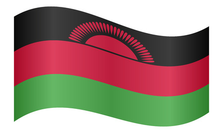 malawian: Malawian national official flag. African patriotic symbol, banner, element, background. Correct colors. Flag of Malawi waving on white background, vector illustration Illustration