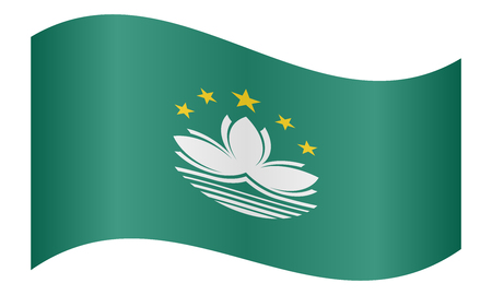prc: Macanese official flag. Patriotic chinese symbol, banner, element, background. Macau is special region of PRC. Correct colors. Flag of Macau waving on white background, vector illustration Illustration