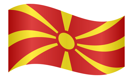 Macedonian national official flag. Patriotic symbol, banner, element, background. Correct colors. Flag of Macedonia waving on white background, vector illustration Illustration