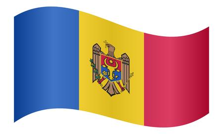 moldovan: Moldovan national official flag. Patriotic symbol, banner, element, background. Correct colors. Flag of Moldova waving on white background, vector illustration Illustration