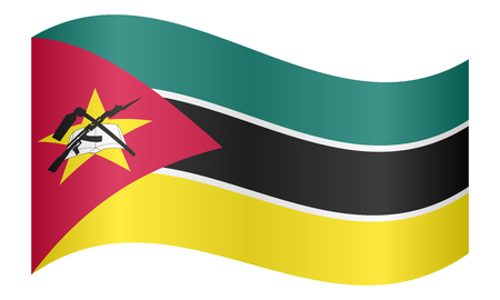 Mozambican national official flag. African patriotic symbol, banner, element, background. Correct colors. Flag of Mozambique waving on white background, vector illustration Illustration