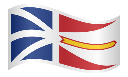provincial: Canadian provincial NL patriotic element and official symbol. Canada banner and background. Correct colors. Flag of the Canadian province of Newfoundland and Labrador waving on white background vector