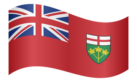 provincial: Ontarian provincial flag, patriotic element and official symbol. Canada banner and background. Correct colors. Flag of the Canadian province of Ontario waving on white background, vector illustration Illustration