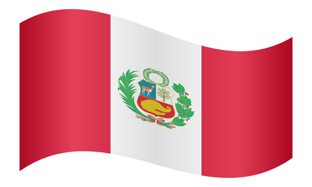 peruvian: Peruvian national official flag. Patriotic symbol, banner, element, background. Correct colors. Flag of Peru waving on white background, vector illustration
