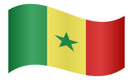 senegalese: Senegalese national official flag. African patriotic symbol, banner, element, background. Correct colors. Flag of Senegal waving on white background, vector illustration