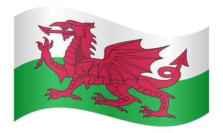 Bandiera ufficiale nazionale gallese. Simbolo patriottico, banner, elemento, sfondo. Colori corretti Bandiera del Galles che ondeggia su sfondo bianco, illustrazione vettoriale