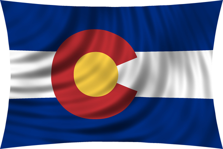 colorado flag: Flag of the US state of Colorado. American patriotic element. USA banner. United States of America symbol. Colorado official flag waving, isolated on white, illustration