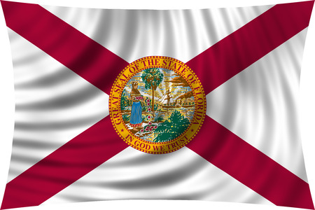 floridian: Flag of the US state of Florida. American patriotic element. USA banner. United States of America symbol. Floridian official flag waving, isolated on white, illustration