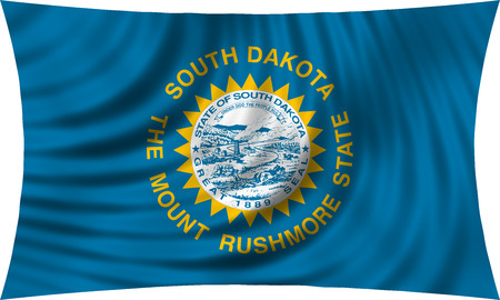 Flag of the US state of South Dakota. American patriotic element. USA banner. United States of America symbol. South Dakotan official flag waving, isolated on white, illustration Stock Photo