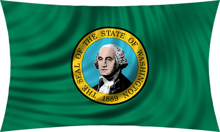 Flag of the US state of Washington. American patriotic element. USA banner. United States of America symbol. Washingtonian official flag waving, isolated on white, illustration