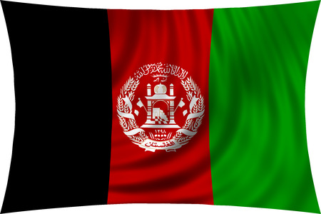 afghan: Afghan national official flag. Patriotic symbol, banner, element, background. Correct colors. Flag of Afghanistan waving, isolated on white, 3d illustration