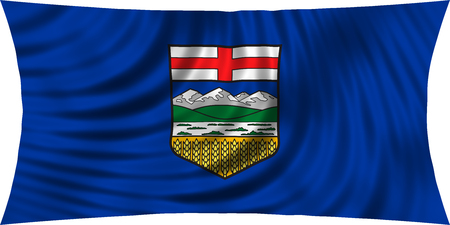 provincial: Albertan provincial official flag, symbol. Canada banner and background. Canadian AB patriotic element. Flag of the Canadian province of Alberta waving, isolated on white, 3d illustration