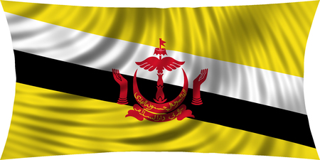 Bruneian national official flag. Patriotic symbol, banner, element, background. Correct colors. Flag of Brunei waving, isolated on white, 3d illustration Stock Photo
