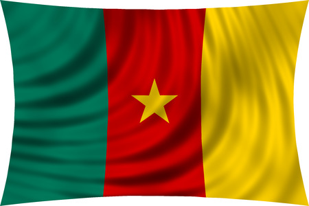 cameroonian: Cameroonian national official flag. African patriotic symbol, banner, element, background. Correct colors. Flag of Cameroon waving, isolated on white, 3d illustration