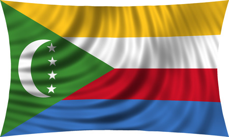 Comorian national official flag. African patriotic symbol, banner, element, background. Correct colors. Flag of Comoros waving, isolated on white, 3d illustration Stock Photo