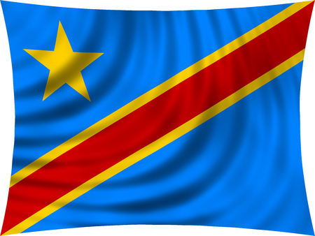 DR Congo national official flag. African patriotic symbol, banner, element, background. Correct colors. Flag of Democratic Republic of the Congo waving, isolated on white, 3d illustration Stock Photo