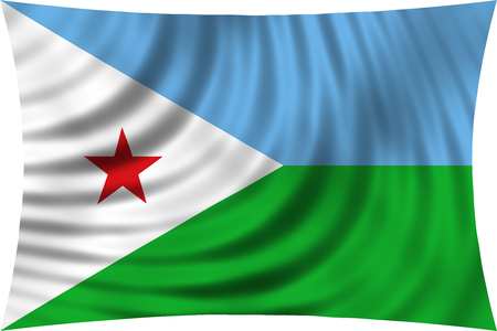 Djiboutian national official flag. Patriotic symbol, banner, element, background. Correct colors. Flag of Djibouti waving, isolated on white, 3d illustration