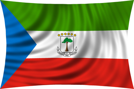Equatorial Guinean national official flag. African patriotic symbol, banner, element, background. Correct colors. Flag of Equatorial Guinea waving, isolated on white, 3d illustration