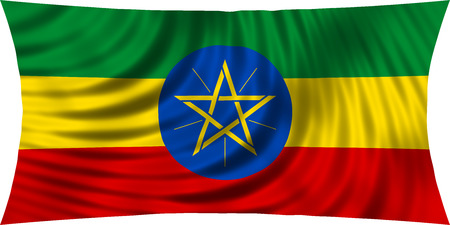 national flag ethiopia: Ethiopian national official flag. African patriotic symbol, banner, element, background. Correct colors. Flag of Ethiopia waving, isolated on white, 3d illustration