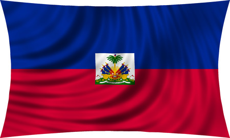 haitian: Haitian national official flag. Patriotic symbol, banner, element, background. Correct colors. Flag of Haiti waving, isolated on white, 3d illustration Stock Photo