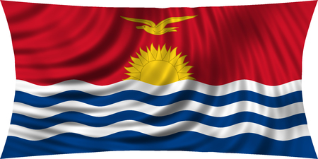 carribean: Kiribati national official flag. Patriotic symbol, banner, element, background. Correct colors. Flag of Kiribati waving, isolated on white, 3d illustration Stock Photo