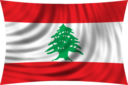 lebanese: Lebanese national official flag. Patriotic symbol, banner, element, background. Correct colors. Flag of Lebanon waving, isolated on white, 3d illustration