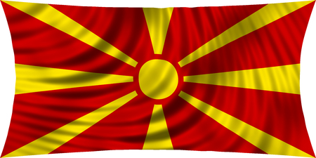 Macedonian national official flag. Patriotic symbol, banner, element, background. Correct colors. Flag of Macedonia waving, isolated on white, 3d illustration