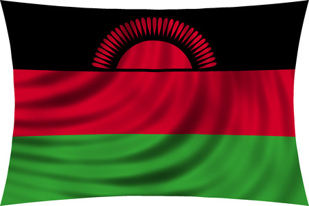 malawian: Malawian national official flag. African patriotic symbol, banner, element, background. Correct colors. Flag of Malawi waving, isolated on white, 3d illustration Stock Photo