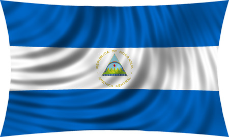 nicaragua: Nicaraguan national official flag. Patriotic symbol, banner, element, background. Correct colors. Flag of Nicaragua waving, isolated on white, 3d illustration