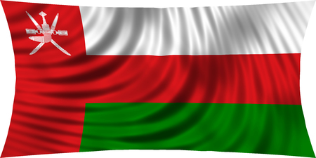 Omani national official flag. Patriotic symbol, banner, element, background. Correct colors. Flag of Oman waving, isolated on white, 3d illustration